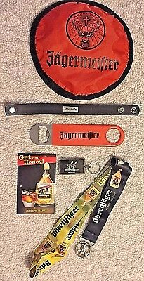 jagermeister 6 piece branded promo set w bottle opener & leather wrist  band NEW