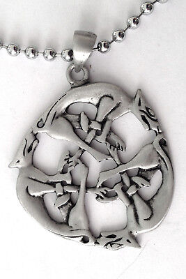 Celtic Hounds Pewter Pendant Mens Boys Womens Necklace Chain  Pc 0580