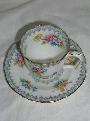 Antique Crown Staffordshire Floral Porcelain Cup And Saucer
