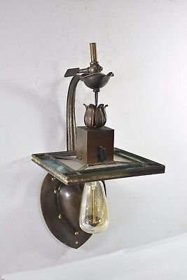 Antique Arts & Crafts Att. Stickley Leaded Slag Glass Single Socket Wall Sconce