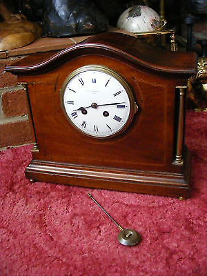 Antique Vintage French Samuel Marti Medaille Mantle Mantel Clock in Wooden Case