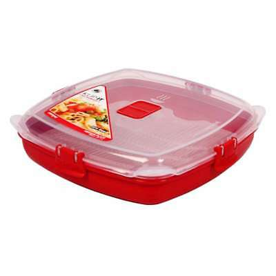 Sistema Klip It Red Microwave Plate 880ml Medium Reheat Meal Leftovers Container