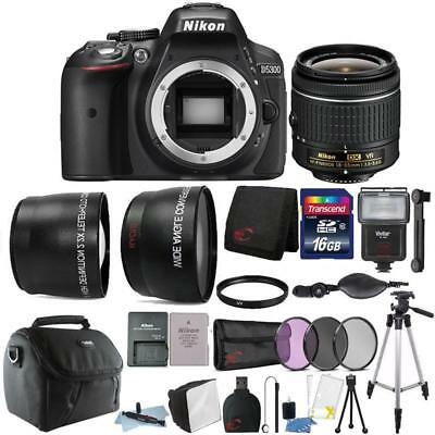 Nikon D5300 24.2MP DSLR Camera 18-55mm Lens + Zoom Flash + 16GB Accessory Kit