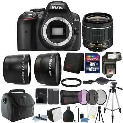 Nikon D5300 24.2MP DSLR Camera 18-55mm Lens + TTL Flash + 16GB Accessory Kit