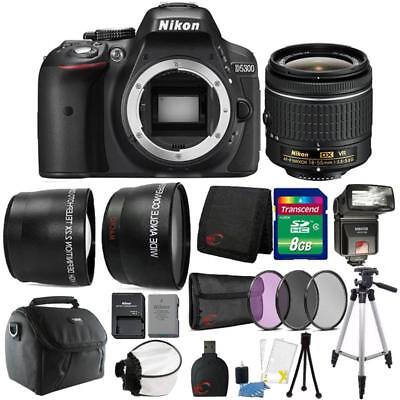 Nikon D5300 24.2MP DSLR Camera 18-55mm Lens + TTL Flash & Premium Accessory Kit