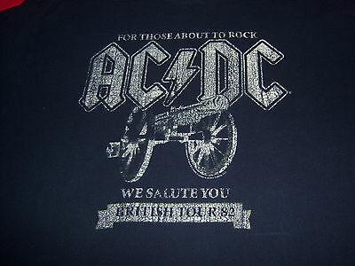 licensed AC/DC t shirt-BRITISH TOUR '82-SALUTE-those about to rock-LOOKS NEW-(L)