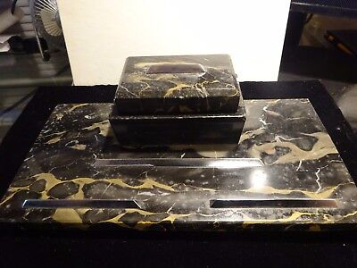 Antique Italian Marble Inkwell Black Gold W Glass Inserts 12 X 6