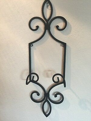 Large Heavy Wrought Iron Wall Plate Picture Art Stand Easel Holder NWOT Ornate