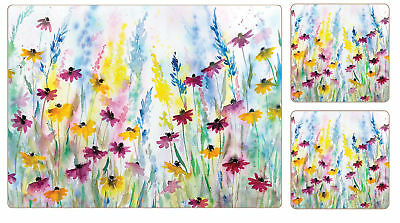 I Style Daisy Field Placemats & Coasters Set of 4 Table Drink Mat Flower Multi