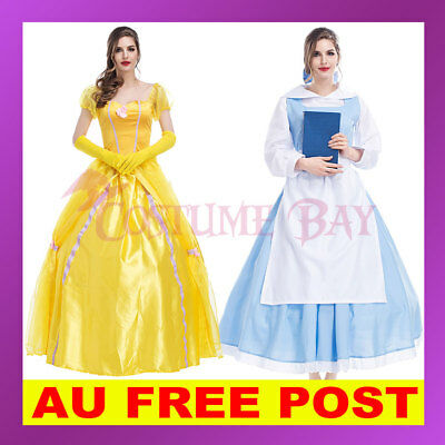 Womens Sleeping Beauty and the Beast Belle Princess Maid Dress Costume Disney