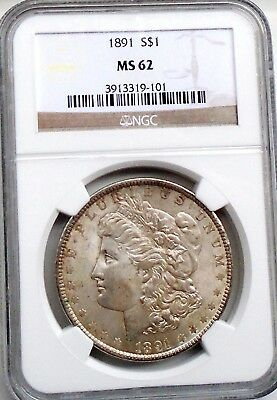 1891-P MORGAN SILVER DOLLAR GRADED BY NGC MS 62 - read about date rarity !!