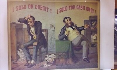 "I SOLD ON CREDIT! I SOLD FOR CASH ONLY ! Sign 13 1/2""x17"" repro"