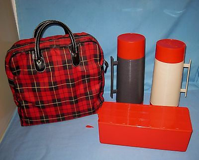 VINTAGE/RETRO ALADDIN THERMOS/Lunch Box WINTER SET WITH RED WOOL CANVAS PLAID!