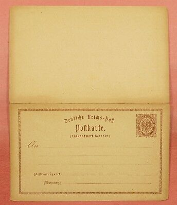 Germany Early Double Postal & Reply Card Stationery Unused