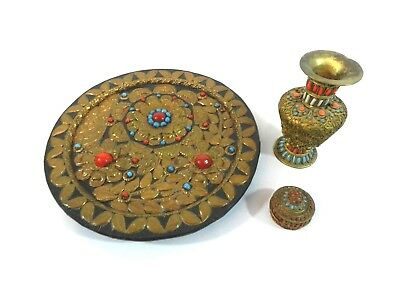 Unique Chinese Tibetan Hand Made Copper & Bead Plate, Vase and Trinket Box