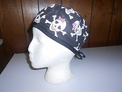 Pink Bow Glitter Crossbones With Black Surgical Cap/hat/do-Rag/motorcycle