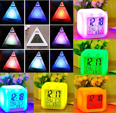 Bedroom Kids 7 Color LED Change Triangle/Square  LCD Digital Alarm Night Glowing