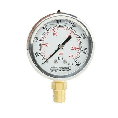 63mm Stainless Steel Liquid Filled Bottom Entry Pressure Gauge