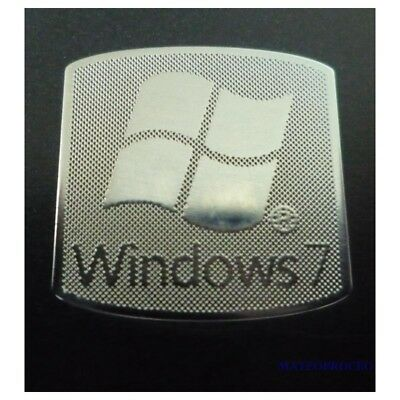Windows 7 Metal Chrome Case Badge Logo 18mm x 18mm - Sticker Label