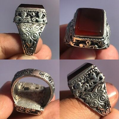 Rare Agate  Medieval Stone Silver wonderful mix Ring