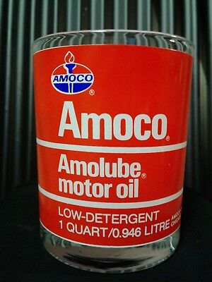 "Vintage Amoco Amolube - 1 Qt.oil Can Advertising Drinking Glass / 4"" X 3-1/4"""