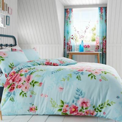 Alice Floral Double Duvet Cover Set Roses Flowers Bedding - Turquoise & Pink
