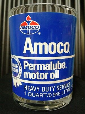 "Vintage Amoco Permalube - 1 Qt.oil Can Advertising Drinking Glass / 4"" X 3-1/4"""