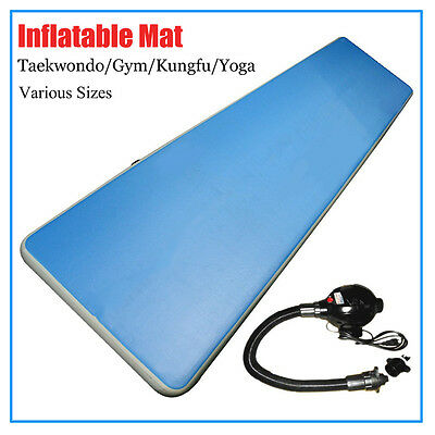 Inflatable Gym Mat Air Floor Tumbling Track Gymnastics Cheerleading Pad w/ Pump