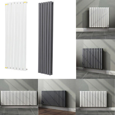 Tall Upright Vertical Designer Oval / Flat Column Radiators Central Heating Rads