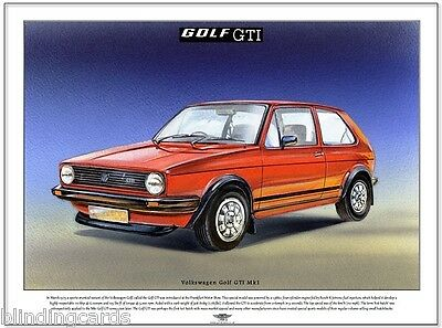 VOLKSWAGEN GOLF GTI Mk1 - A3 Fine Art Print - 1975 Hot-Hatch - Car picture image