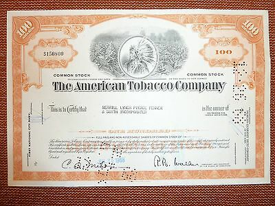 The American Tobacco Co., 1968, 100 Shares,  TABAK