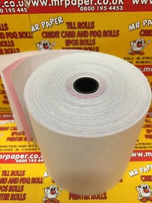 57mm x 55mm 3 Ply Till Rolls White/Pink/White from MR PAPER®
