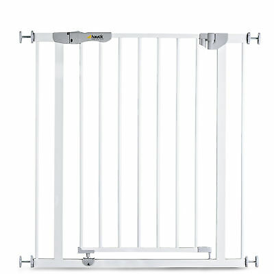 New Hauck White Autoclose N Stop Metal Pressure Safety Stair Gate 75 Cm - 80 Cm