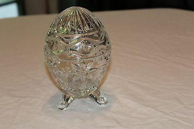 Antique crystal trinket box egg