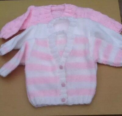 New Hand Knitted Baby Girl Cardigan Gift Set. Three Cardigans In Set