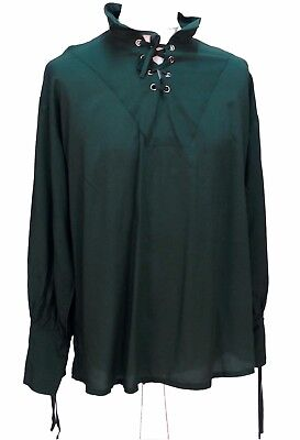 Green Renaissance Pirate Laced Cotton Shirt Green Size XL 46 Chest Medieval