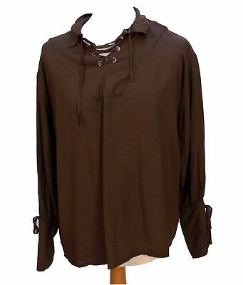 Brown Renaissance Pirate Laced Cotton Shirt Green Size L 44-46 Chest Medieval