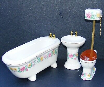 1:12 Scale 3 Piece Ceramic Bathroom Set Dolls House Miniature Accessory df319