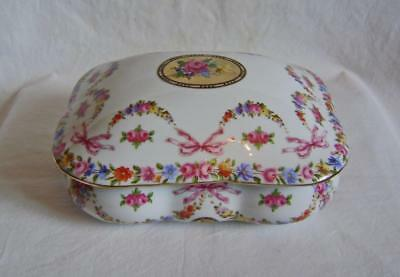 Large Vintage Continental Porcelain Box with Lid, Rectangular, MINT condition