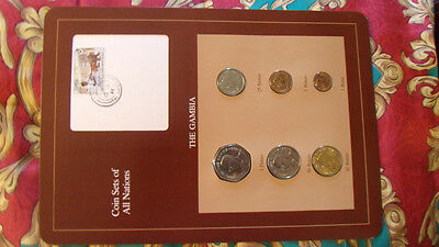 Coin Sets of All Nations Gambia w/card 1971 - 1987 UNC 1 Dalasi 1987