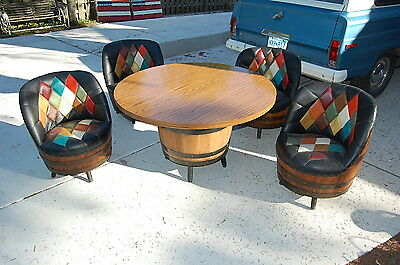 Mid Century Brothers Furniture Whiskey Barrel Set  of 4 Chairs & Table