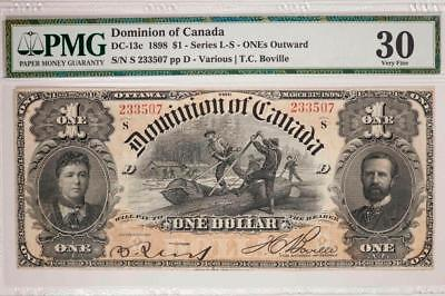 1898 Dominion of Canada $1 PMG VF30 DC-13c Series L-S ONEs Outward Item#T7231