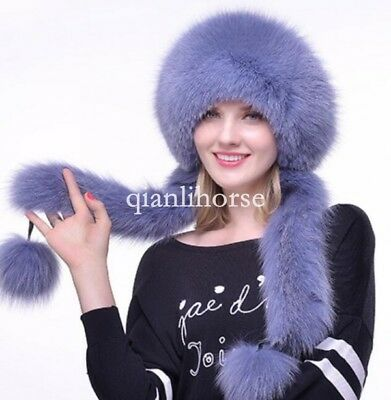 Warm Real Fox Fur Hat Russian Style Cap Women Winter Ski Trooper Hats Warm 4e338764765