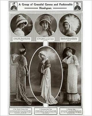 """10""""x8"""" (25x20cm) Print Graceful gowns and fashionable head gear 1912"""