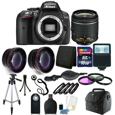 Nikon D5300 Digital SLR Camera with 18-55mm + 16GB Top Accessory Bundle