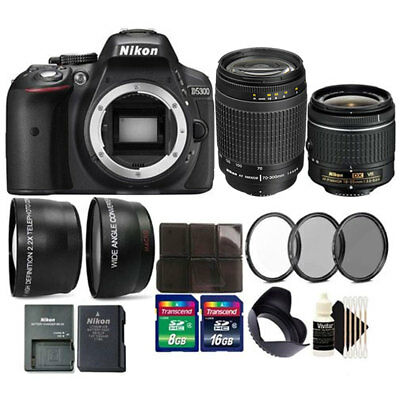 Nikon D5300 24.2MP D-SLR Camera with 70-300mm Lens + 24GB Top Accessory Bundle