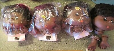 4 VINTAGE BLACK DOLL HEADS w HAIR & HANDS SETS FACE HAND PAINTED HONG KONG NOS