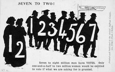 Print. ca 1913. Women's Suffrage. Seven to Two!  Votes