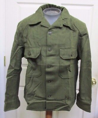 US Korean War Era OG Olive Green 108 Wool Field Shirt M1952 Unissued Large 1953