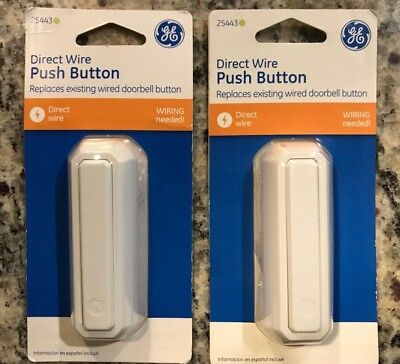 Lot of 2 - GE Direct Wire Push Button Doorbell Replacement 25443